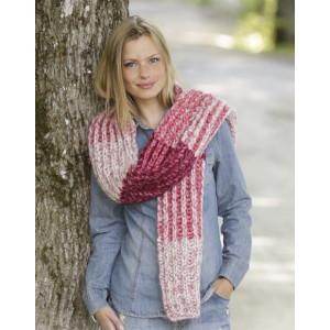 Raspberry Hug by DROPS Design - Skjerf Strikkeoppskrift 173x32 cm