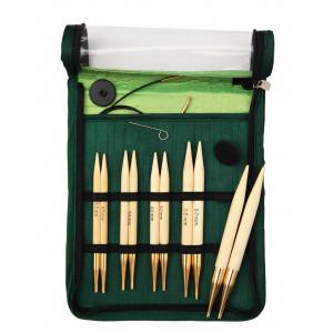 KnitPro Bamboo Utskiftbare rundpinnesett Bambus 60-80-100 cm 6-10 mm 5 størrelser Chunky