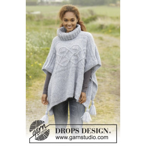 Alanna by DROPS Design - Poncho Strikkeoppskrift str. S - XXXL
