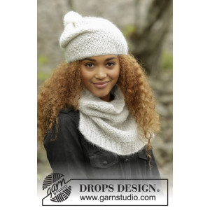 Cream Puff by DROPS Design - Lue og Hals Strikkeoppskrift str. S - L