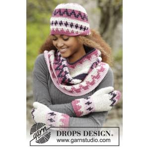 Pink Maze by DROPS Design - Lue, hals og votter Hekleoppskrift str. S - XL