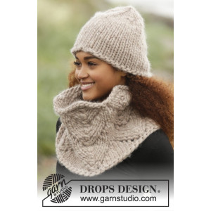 Cinnamon by DROPS Design - Lue og hals strikkeoppskrift str. S - XL