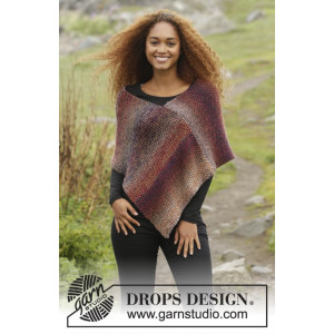 Ember by DROPS Design - Poncho Strikkeoppskrift str. S - XXXL