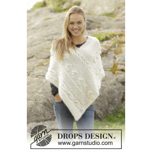 Snow Beads by DROPS Design - Poncho Strikkeoppskrift str. S - XXXL