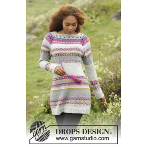 Highland Heather by DROPS Design - Kjole Strikkeoppskrift str. S - XXXL