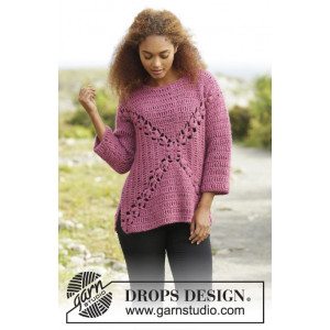 Autumn Rose by DROPS Design - Genser Hekleopskrift str. S - XXXL
