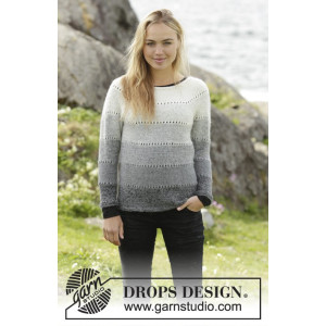 Shades of Grey by DROPS Design - Bluse Strikkeoppskrift str. S - XXXL