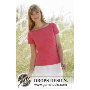 Warm Apricot by DROPS Design - Topp Hekleoppskrift str. S - XXXL