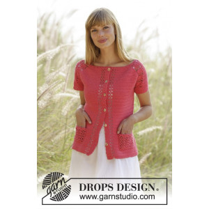 Warm Apricot Cardigan by DROPS Design - Jakke Hekleoppskrift str. S - XXXL