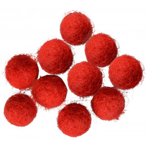 Ullkuler/Filtkuler 10mm Rød R1 - 10 stk