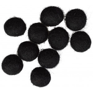 Ullkuler/Filtkuler 10mm Sort / Svart / BLACK - 10 stk