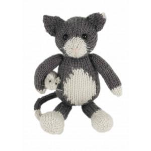 Go Handmade Strikkekit Katten Simon 21 cm & Musen Mats 4,5 cm