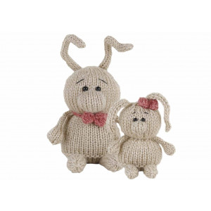 Go Handmade Strikkekit Kaninene Laura 8 cm & Andy 11 cm