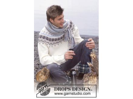 d4db629f Prince of Snow by DROPS Design - Genser og Skjerf Strikkeopskrift str. 12/14