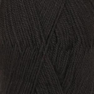 Drops Flora Garn Unicolor 06 Sort / Svart