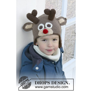 Little Rudolph by DROPS Design - Lue Hekleoppskrift str. 6 mdr - 10 år