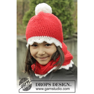 Santa's Favorite by DROPS Design - Lue og Hals Hekleoppskrift str. 3 - 12 år