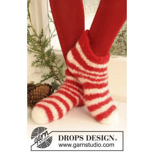 Christmas Slippers by DROPS Design - Tøfler Filtet Strikkeoppskrift str. 35 - 44