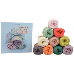 Boken Hæklede Klude fra A til Ø + Mayflower Cotton 8/4 Garnpakke 10 farger - 10 stk