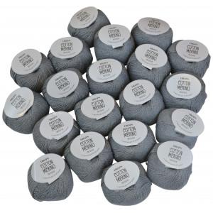 Drops Cotton Merino Garnpakke Unicolor 18 Mellomgrå - 20 stk
