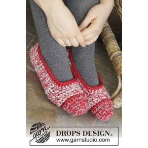Merry Slippers by DROPS Design - Tøfler Hekleoppskrift str. 35 - 44