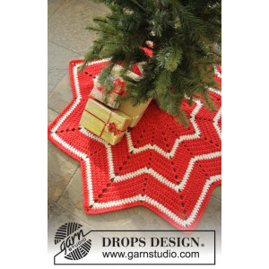 Under the Christmas Tree by DROPS Design - Juletresteppe Hekleoppskrift 95 cm