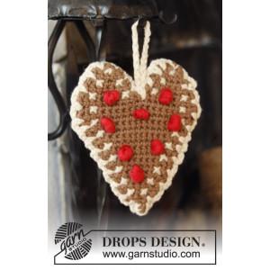 Gingerbread Heart by DROPS Design - Julehjerter Hekleoppskrift 13x11 cm - 2 stk