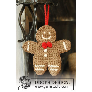 Gingy by DROPS Design - Pepperkakemann julepynt Hekleoppskrift 15x14 cm - 2 stk