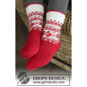 Merry & Warm by DROPS Design - Sokker Strikkeoppskrift str. 32/34 - 41/43