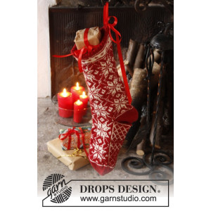 Mr. Kringle's Stocking by DROPS Design - Julestrømpe Strikkeoppskrift 35x25 cm