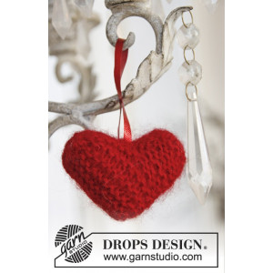 Sweet heart by DROPS Design - Julehjerte Julepynt Strikkeoppskrift 5 cm