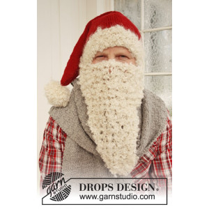 Mr. Kringle by DROPS Design - Nisselue, Skjerf og Nisseskjegg Strikkeopskrift str. S/M - M/L