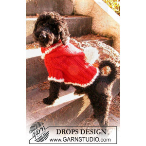 Santa Dog by DROPS Design - Genser til hund Strikkeoppskrift str. XS - M