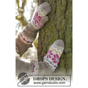 Prairie Fairy Mittens by DROPS Design - Votter Strikkeoppskrift str. 3 - 12 år