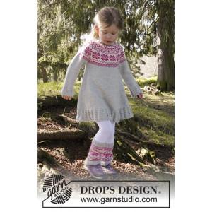 Forest Dance by DROPS Design - Kjole Strikkeoppskrift str. 3/4 - 11/12 år