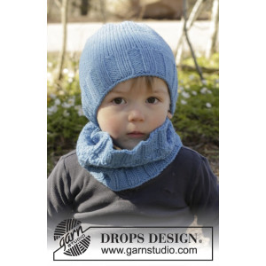 Bluebeard by DROPS Design - Lue og Hals Strikkeopskrift str. 12/18 mdr - 7/10 år