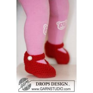 Rosy Toes by DROPS Design - Tøfler Hekleoppskrift str. 1/3 mdr - 3/4 år