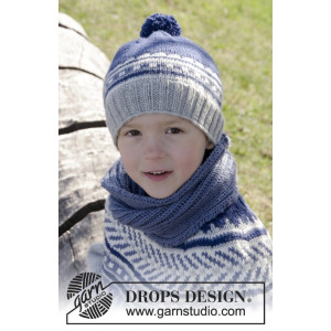 Little Adventure Set by DROPS Design - Lue og hals Strikkeoppskrift str. 3 - 12 år