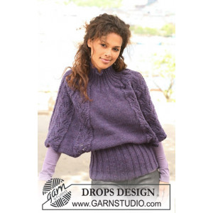 Warm Winter Wings by DROPS Design - Poncho Strikkeoppskrift str S - XXXL