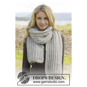 Grey Mist by DROPS Design - Skjerf Strikkeoppskrift 175x35 cm