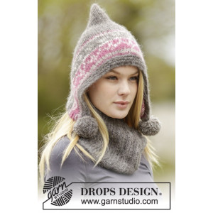 Sweet Winter Hat by DROPS Design - Lue og hals strikkeoppskrift str. S - XL