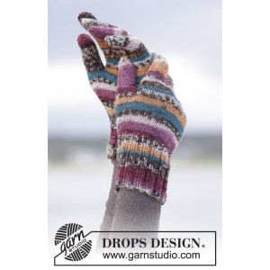 Autumn Stripes by DROPS Design - Votter Strikkeoppskrift str. S/M - L/XL